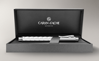 Silver-plated, rhodium-coated VARIUS CERAMIC WHITE fountain pen