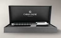 Silver-plated, rhodium-coated VARIUS CERAMIC BLACK ballpoint pen