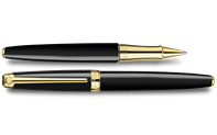 Gold-plated LÉMAN EBONY BLACK roller pen