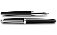 Silver-Plated, Rhodium-Coated LÉMAN EBONY BLACK Roller Pen
