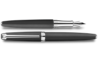 Silver-Plated, Rhodium-Coated LÉMAN BLACK MATT Fountain Pen