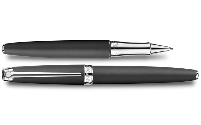 Silver-Plated, Rhodium-Coated LÉMAN BLACK MATT Roller Pen