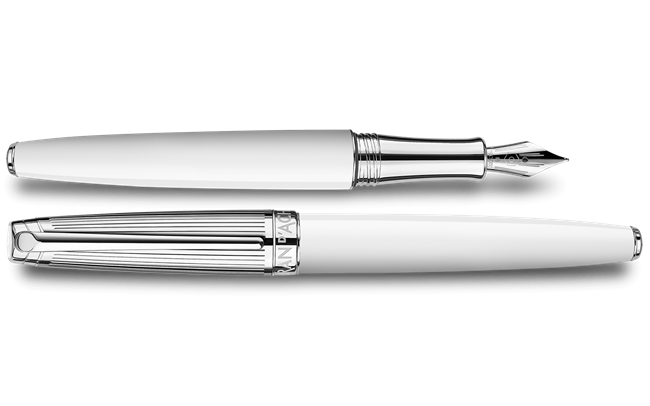 Silver-Plated, Rhodium-Coated LÉMAN BICOLOR White Fountain Pen