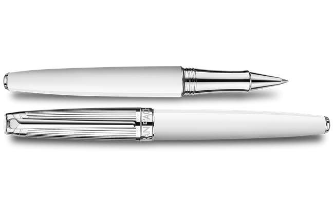 Silver-Plated, Rhodium-Coated LÉMAN BICOLOR White Roller Pen