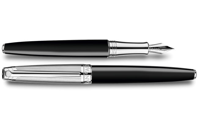 Silver-Plated, Rhodium-Coated LÉMAN BICOLOR Black Fountain Pen