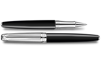 Silver-Plated, Rhodium-Coated LÉMAN BICOLOR Black Roller Pen