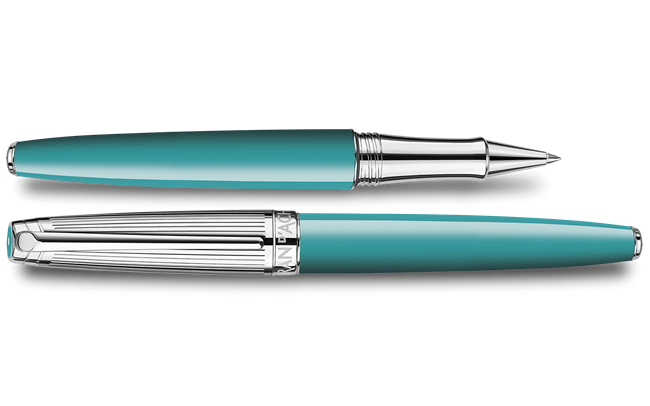 Silver-Plated, Rhodium-Coated LÉMAN BICOLOR Turquoise Roller Pen