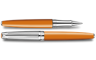 Silver-Plated, Rhodium-Coated LÉMAN BICOLOR Saffron Roller Pen