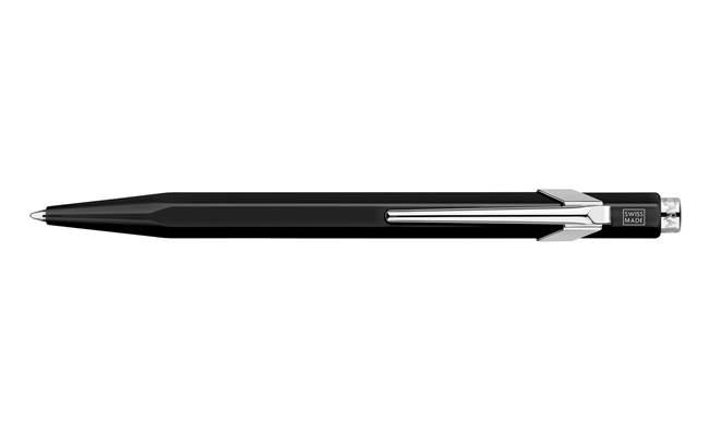 849 POPLINE Metallic Black Ballpoint Pen, with Holder