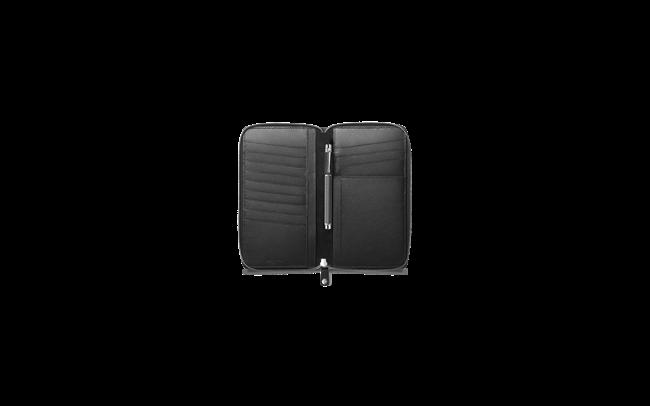 Porta passaporto con zip Nero