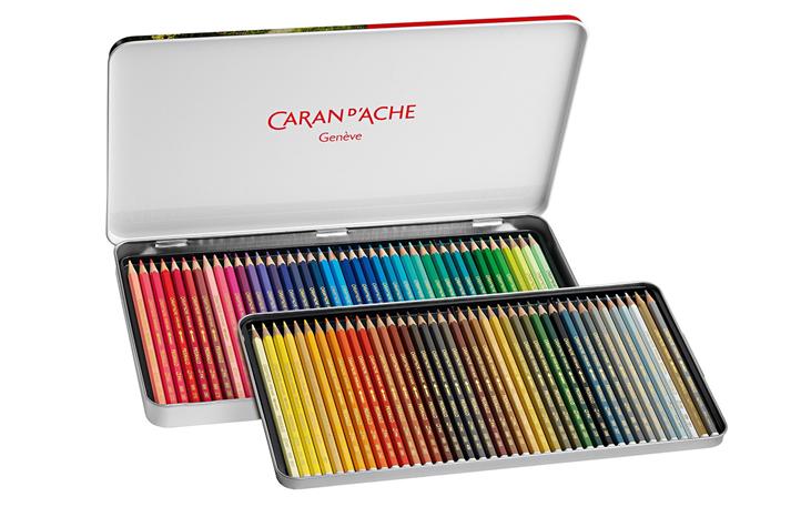 Caran d/'Ache PRISMALO COFANETTO LEGNO Regalo 80 Matite Colorate Acquerellabili