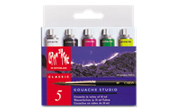 Box of 5 Tubes of Paint GOUACHE STUDIO 10 ml