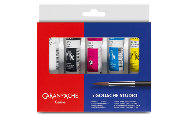 GOUACHE STUDIO - Assortimento 5 colori in tubetti da 21 ml