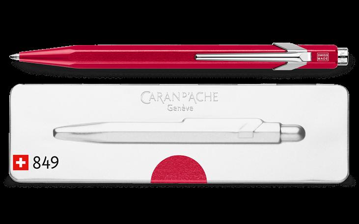 Caran Dache Metallic Red 849 Popline Blue Ballpoint Pen Metal Case 0849.780
