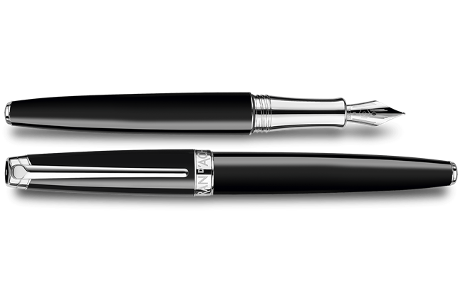 Silver-Plated, Rhodium-Coated LÉMAN EBONY BLACK Fountain Pen