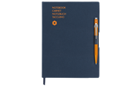 Kugelschreiber 849 Orange & Notizbuch Office A5 Blau