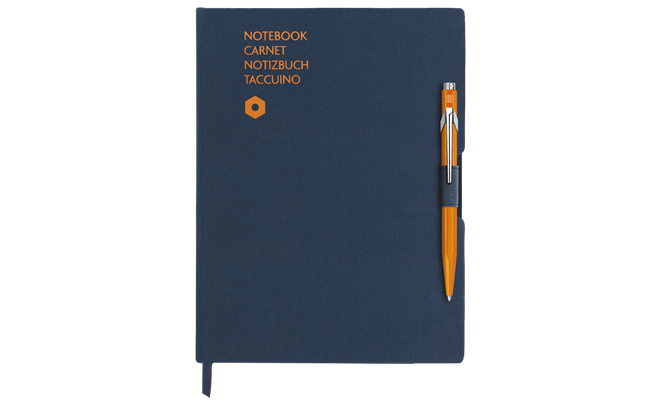 Stylo Bille 849 Orange & Carnet Office A5 Bleu
