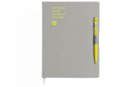 Ballpoint Pen 849 Yellow & Notebook Office A5 Grey