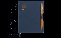 Penna a sfera 849 ARANCIA & quaderno OFFICE A6 TELA BLU