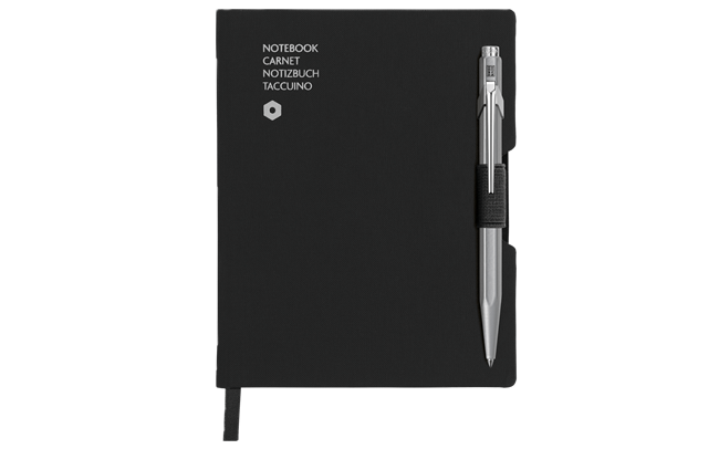 Ballpoint Pen 849 Grey & Notebook Office A6 Black