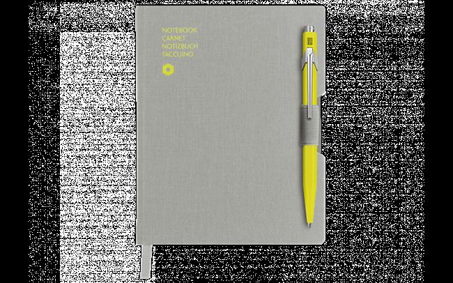 849 ボールペン イエロー&オフィス ノートA6 グレー