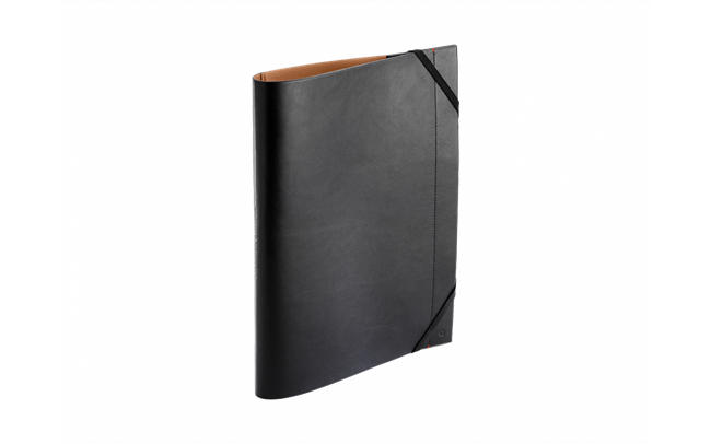 Black LEATHER A4 Folder