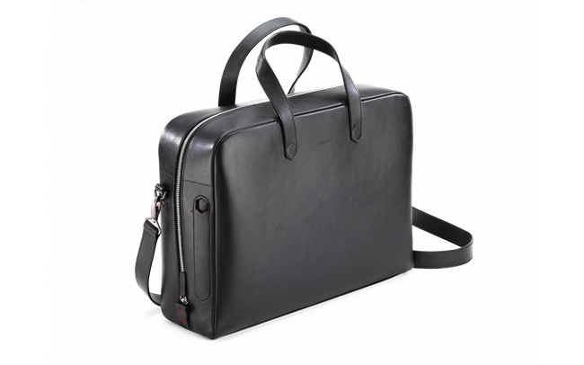 BLACK LEATHER ATTACHE BAG