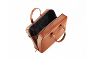 BEIGE LEATHER ATTACHE BAG