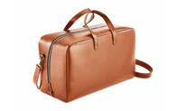 BEIGE LEATHER WEEKEND TRAVEL BAG