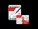 Set mit 18 Farbstiften FANCOLOR + Heft oder Postkarten SWISS EXPLORER